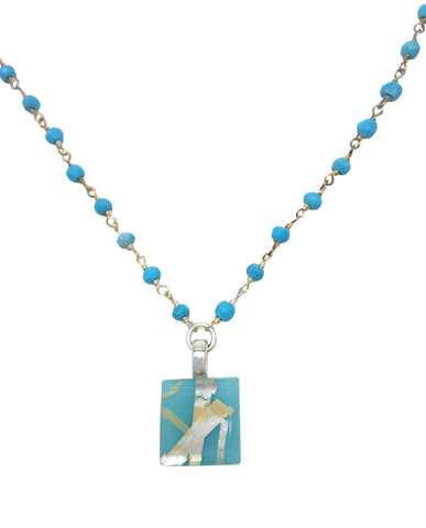 Turquoise Tiny Necklace with Sterling Silver & Turquoise Chain
