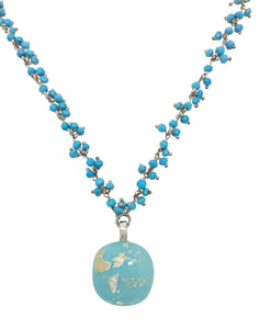Turquoise Cabochon with Turquoise Gem Stone & Sterling Silver Chain