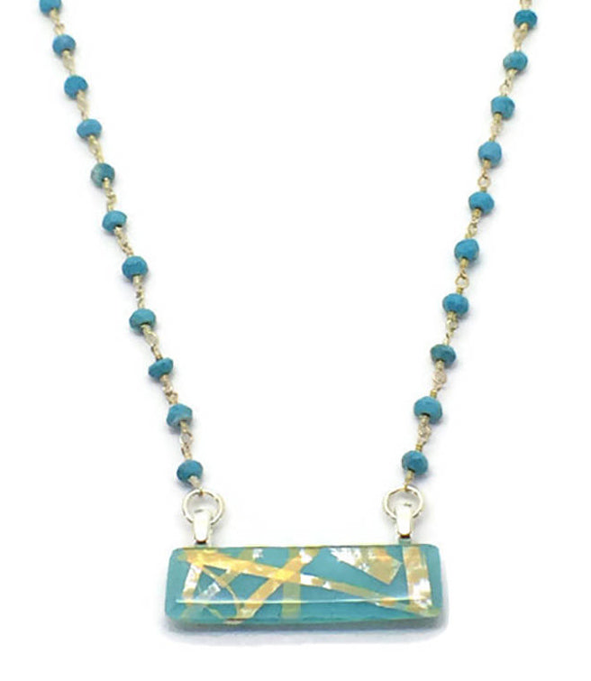 Turquoise Horizontal Bar Necklace with Turquoise & Sterling Silver Chain