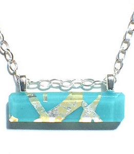 Turquoise Horizontal Bar Necklace with Sterling Silver Chain