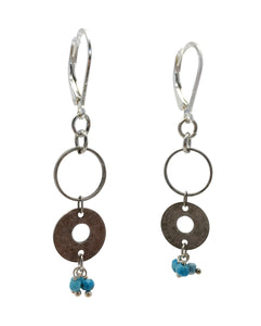Double Circle Silver Earrings with Turquoise