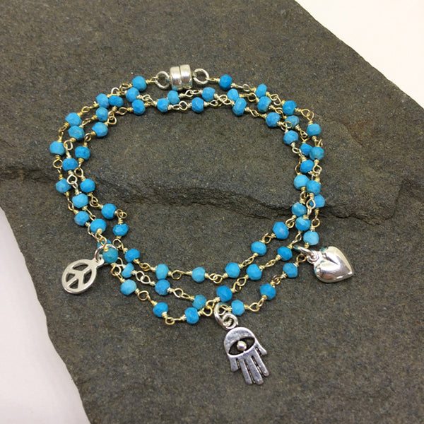 Peace, Love & Hamsa Turquoise Wrap Bracelet & Necklace