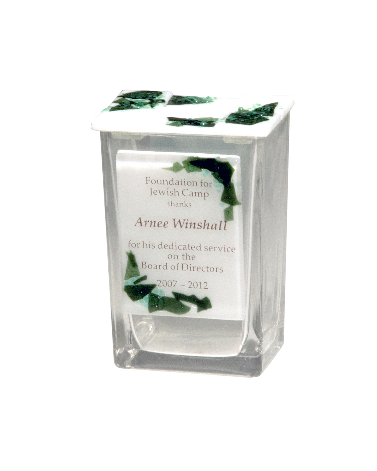 Custom Award Glass Tzedakah Box