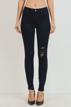 Destroyed Black Mid-rise Jeans