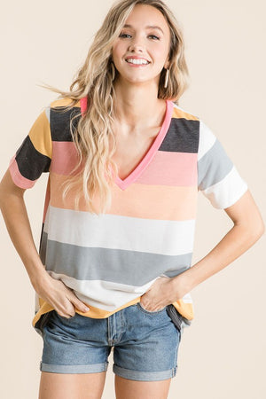 Blushing Striped V-Neck
