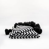MOROCCAN POM POM BLANKET- BLACK AND WHITE STRIPES