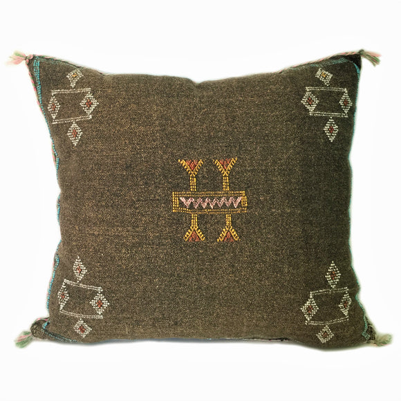 Brown Sabra Silk Pillow, From Morocco