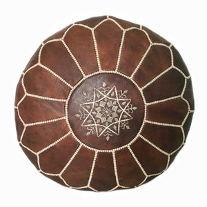 Moroccan Pouf Dark Brown, Leather ottoman & footstool
