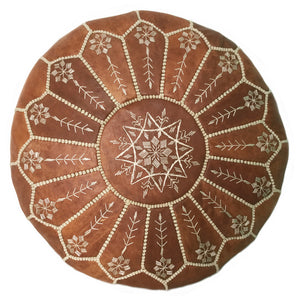 Embroidered Moroccan leather Pouf, handmade in Morocco, Toronto Canada