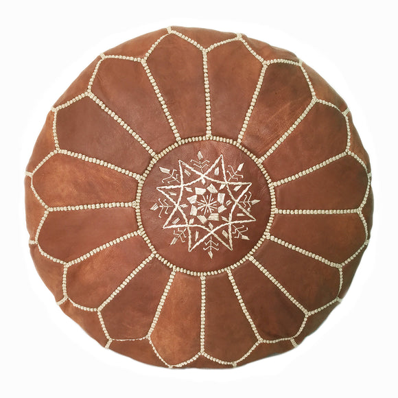Brown Moroccan pouf, leather pouf, Brown ottoman