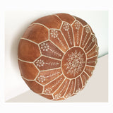Leather Moroccan Pouf embroidered by hand
