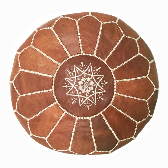 Moroccan pouf  in light Brown, Toronto, leather ottoman Canada