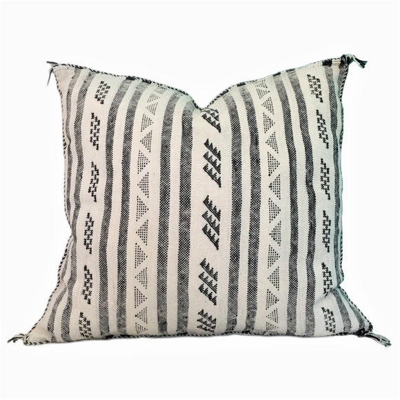 Moroccan Sabra Silk Cushion in White and Black, Montreal, Canada