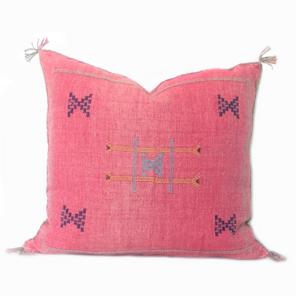 Pink Sabra Silk Pillow, handmade in Morocco, Boho Pillow