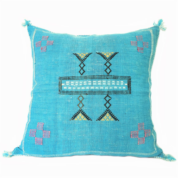 Sabra Silk Pillow Cover Blue, Moroccan Cushion