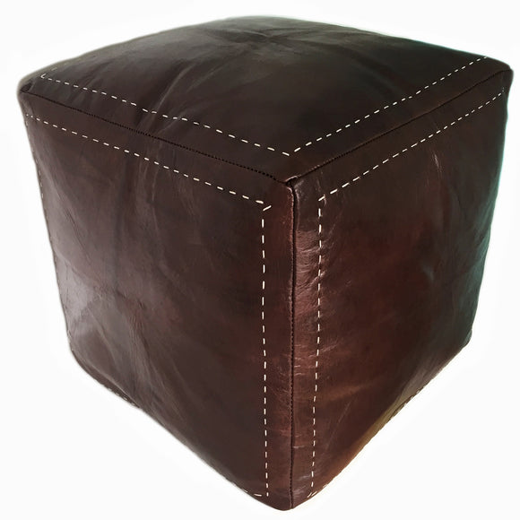 Square leather pouf from Morocco, shipping to all Canada, Vancouver, Toronto, Calgary
