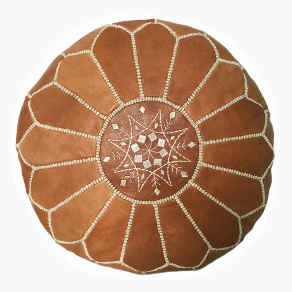 Moroccan pouf Canada- Tan Leather, Ottawa