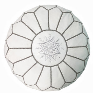 White leather pouf from Morocco, handmade ottoman  & footstool
