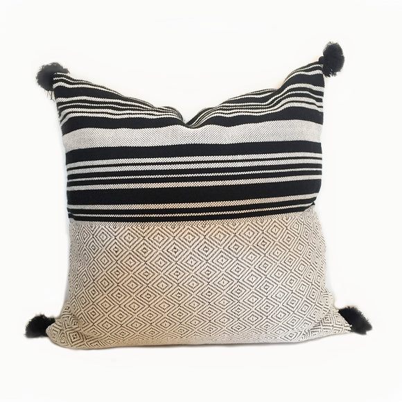 black and white pillow, Moroccan cushion Canada, handmade pillow