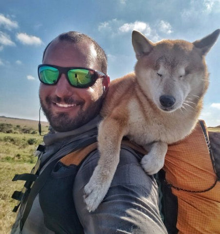 Kyle and Katana the blind dog went on a hike
