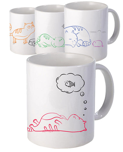 'Lara' The Cat Mug - Set - The Print Cave