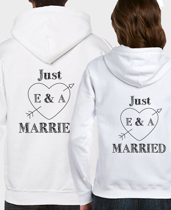 Just Married Initials & Heart - Hoodie Set - The Print Cave