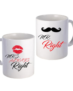 Mr & Mrs Right - Mug Set - The Print Cave