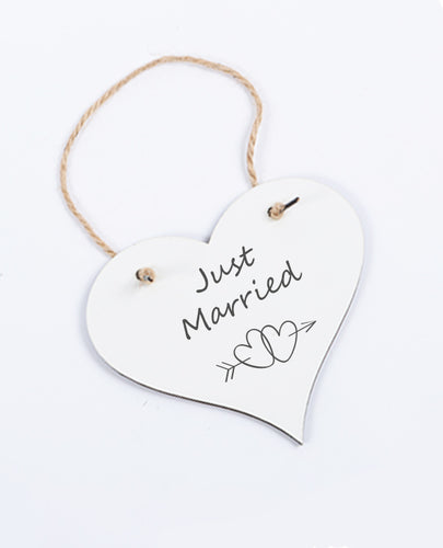 Just Married - Heart Hanging Sign - The Print Cave