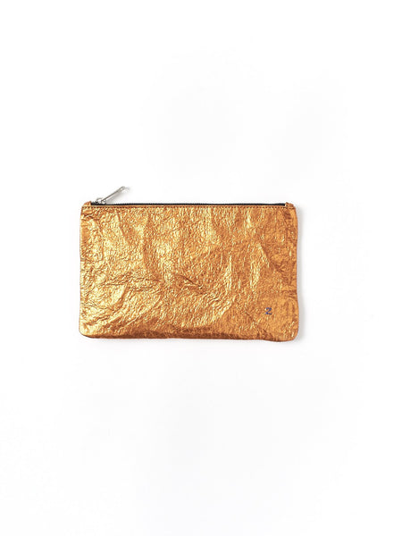 orange metallic purse