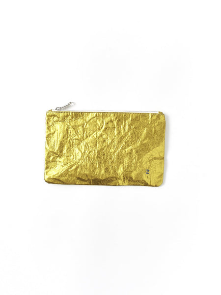 yellow metallic purse
