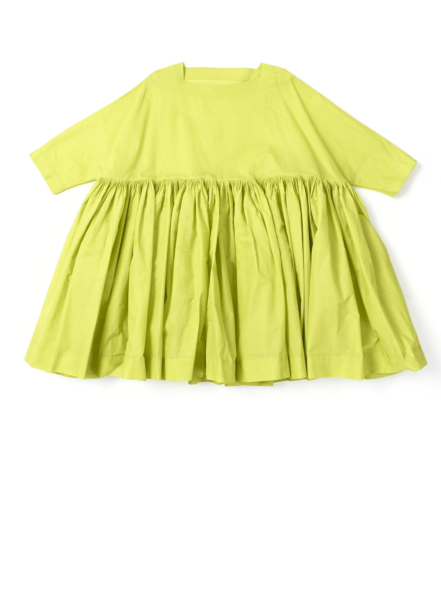 green ruffled dress