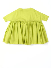 wide green ruffled dress
