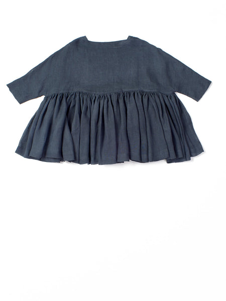 dark blue ruffled top