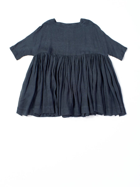 indigo ruffled dress