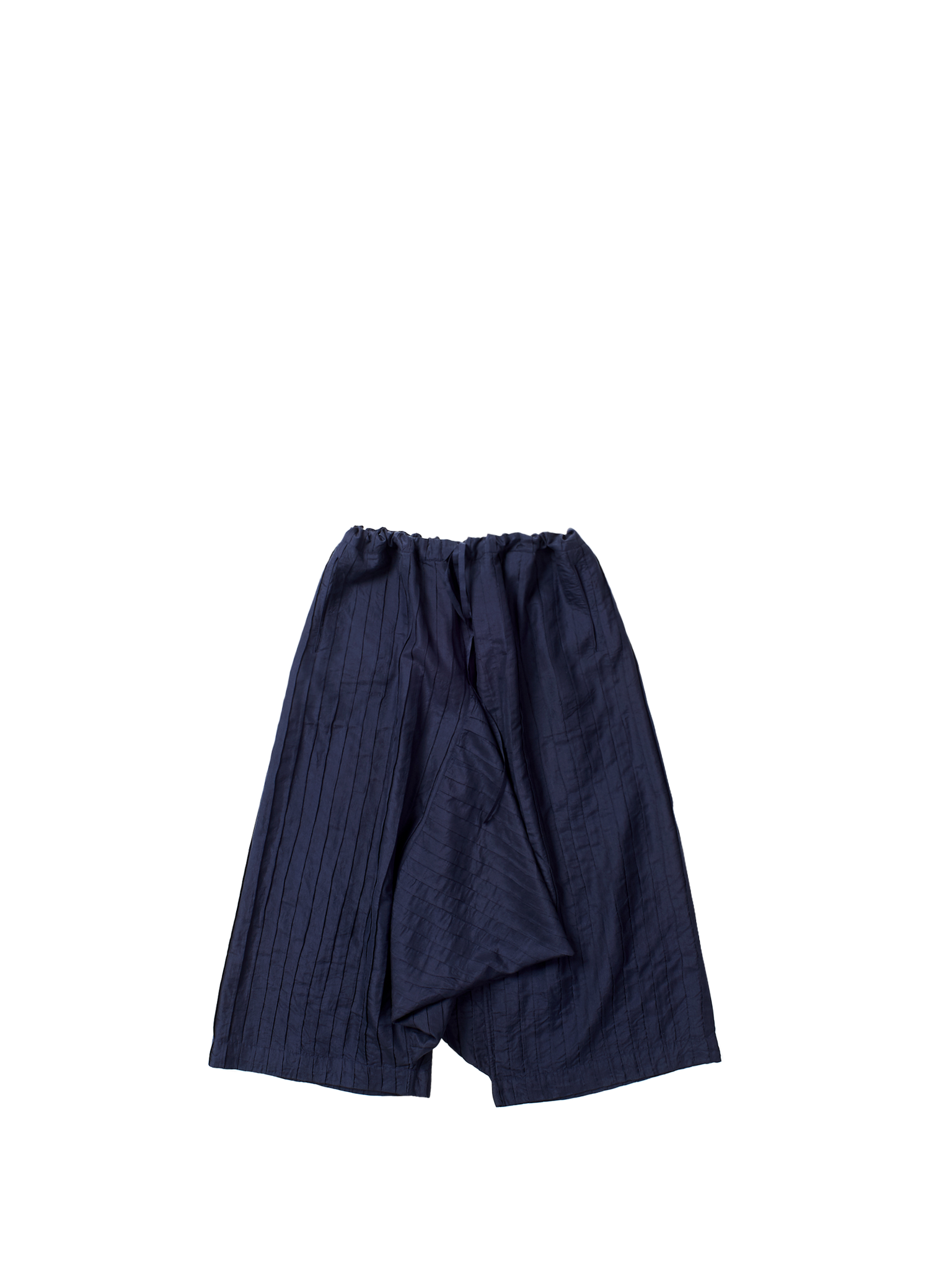dark navy drawstring full trousers in pleated silk