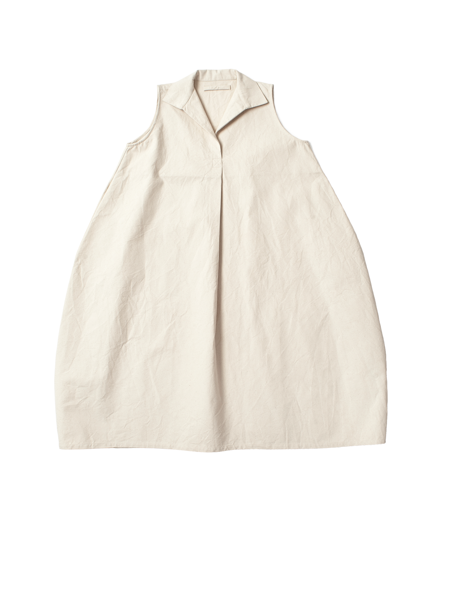 cream tulip dress with collar in canvas