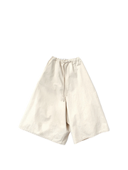 cream drawstring culottes in canvas
