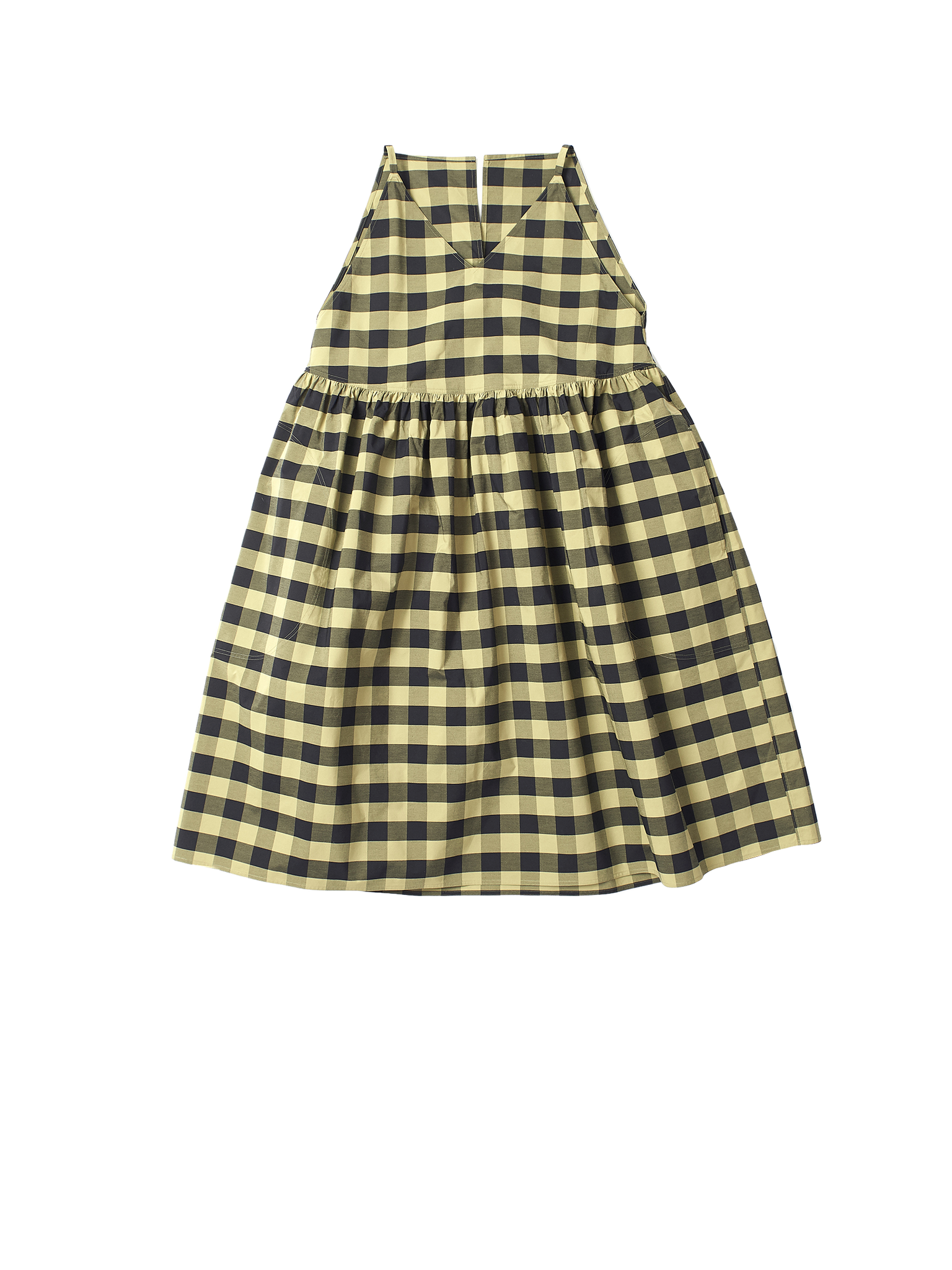 green and black check dress