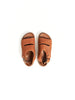 open toe leather slipper