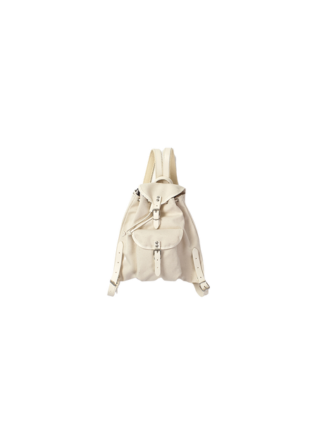 mini canvas rucksack with white leather trim