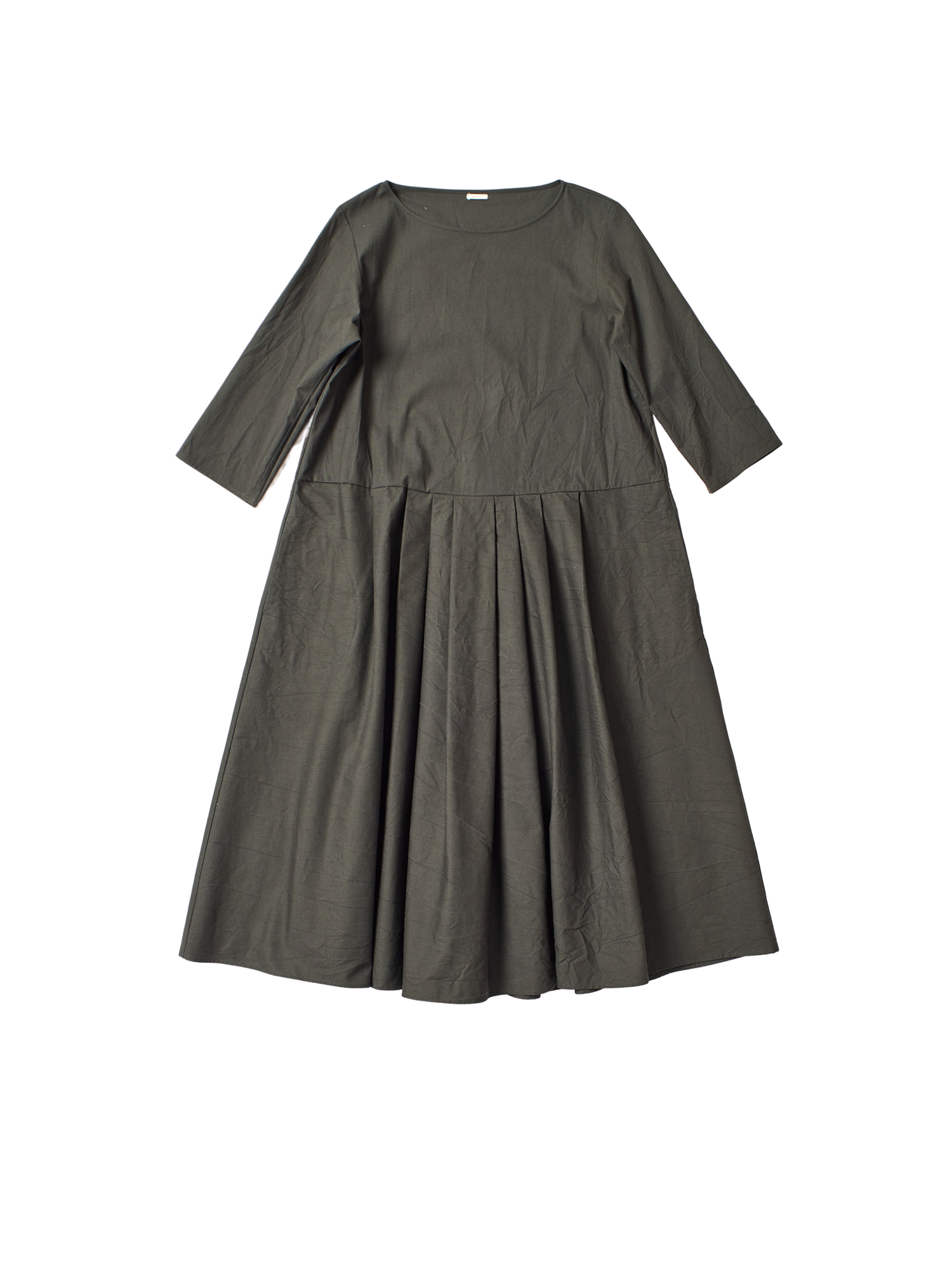 green cotton oversized box pleat dress with belt