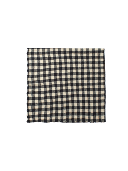 black and white wool gingham check scarf