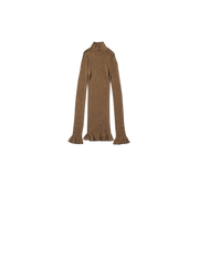 brown wool high neck frill vest
