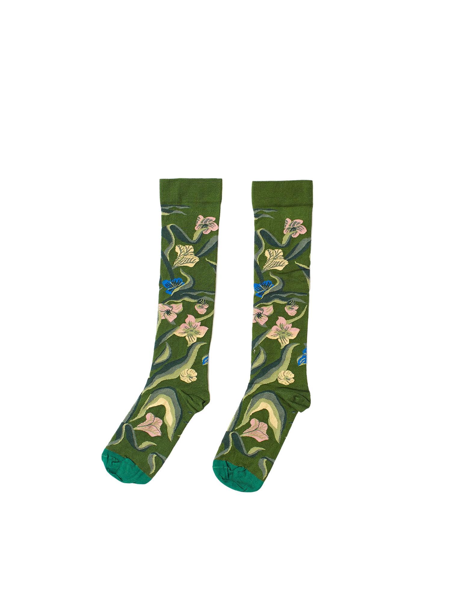 green floral cotton socks