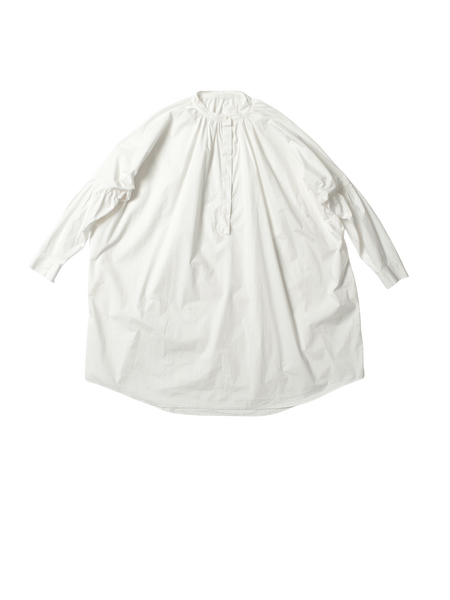 white paper cotton long gathered 1901 shirt