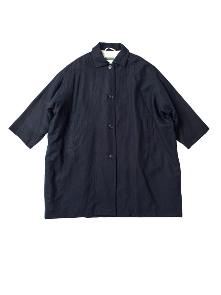 navy wool linen oversized blob coat