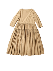 beige cotton oversized cloud dress with gathered tiers