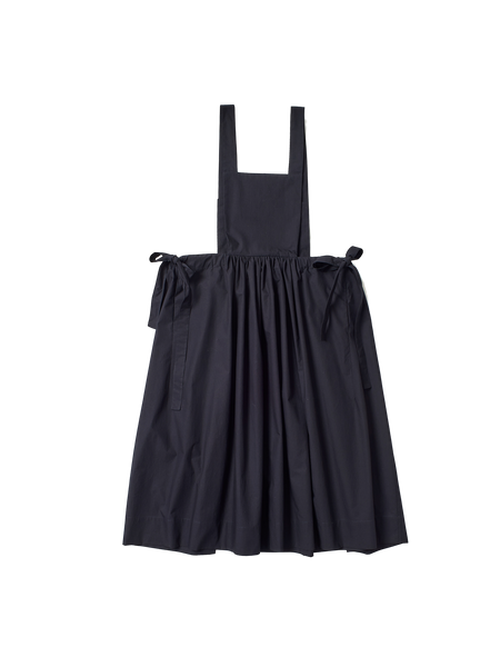 black typewriter cotton apron style diona dress with side ties