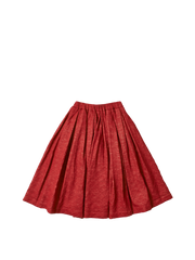 red organic wool box pleat elastic waist solange skirt