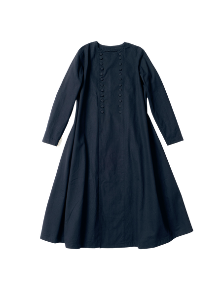 long denim evelyn coat with buttons